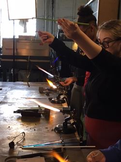 Edison's Drawing and Painting 2 class learn glass blowing at Potek Glass in NE